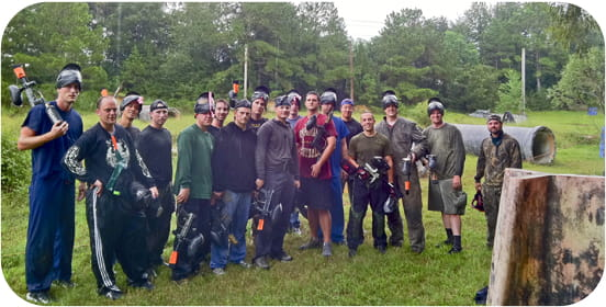 Group photo of MUSC residents in paintball gear.