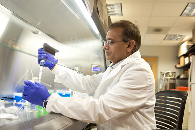 Dr. Nihalani in research lab