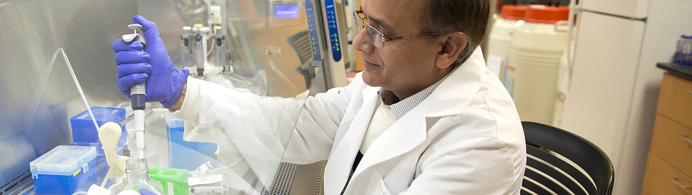 Deepak Nihalani with pipette