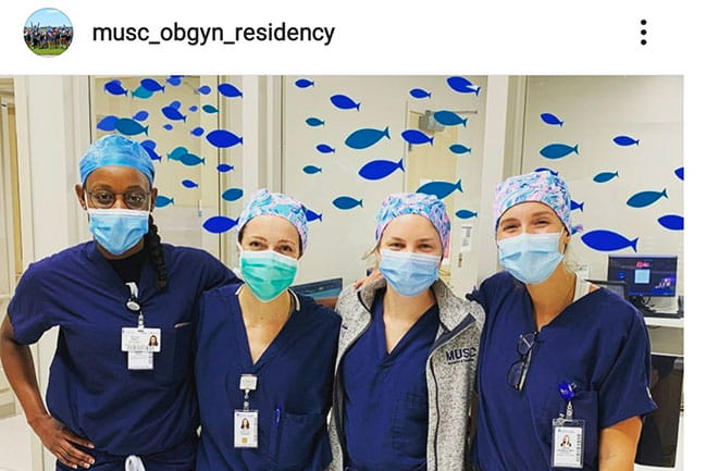 four masked OBGYN residents