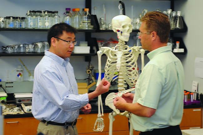 Dr. Hai Yao working with student in the joint MUSC-Clemson bioengineering program.