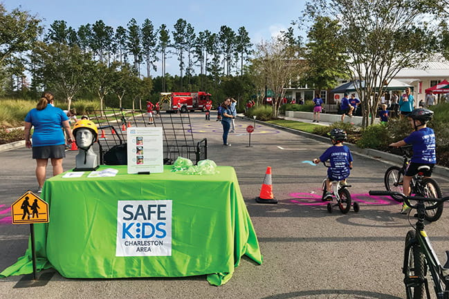 Photograph of Safe Kids bicycle safety course event