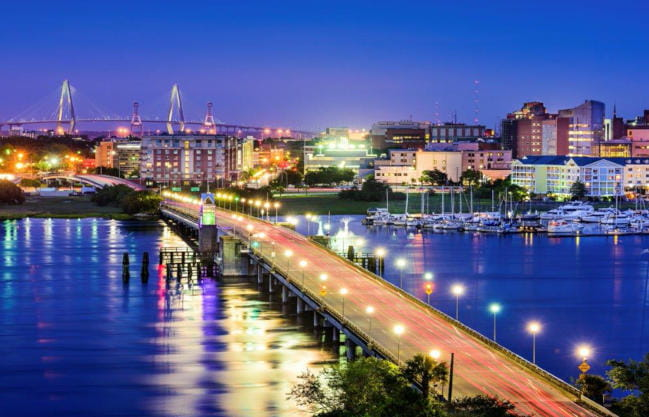 View of Charleston at night