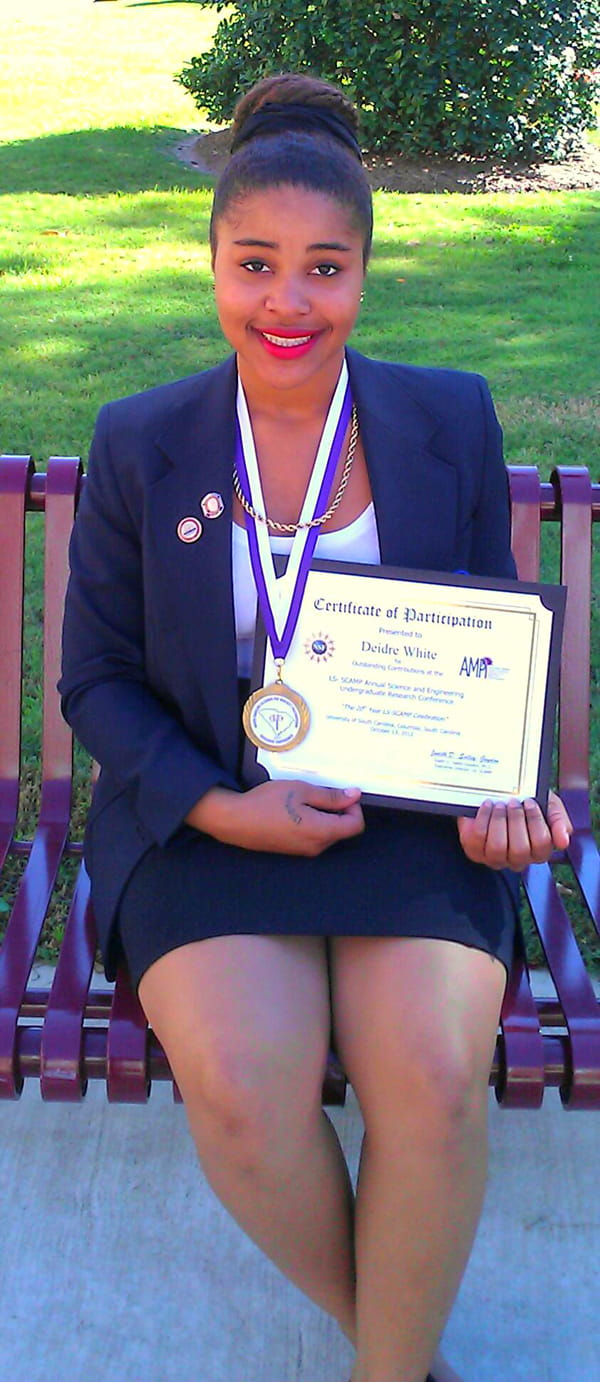 Deidre White (summer undergraduate student 2012) awarded first prize for her presentation at the 2012 LS-SCAMP Annual Science, Engineering and Research Conference