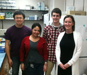 : Photo of Qi Guo (Masters Student), Lourdes Nogueira (Research Specialist), Ryan Kelly (Rotation Ph.D. Student), Victoria Findlay (Principle Investigator)