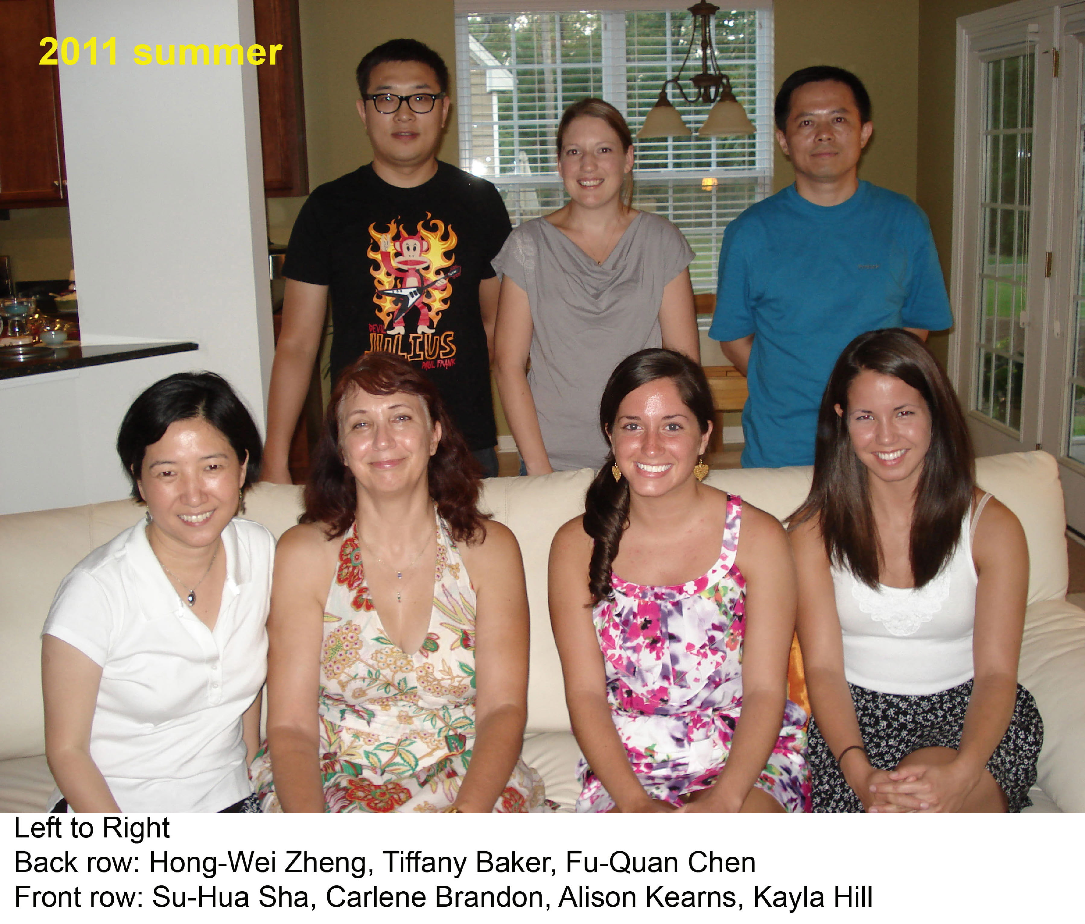 Left to Right: Back Row: Hong-Wei Zheng, Tiffany Baker, Fu-Quan Chen. Front Row: Su-Hua Sha, Charlene Brandon, Alison Kearns, Kayla Hill