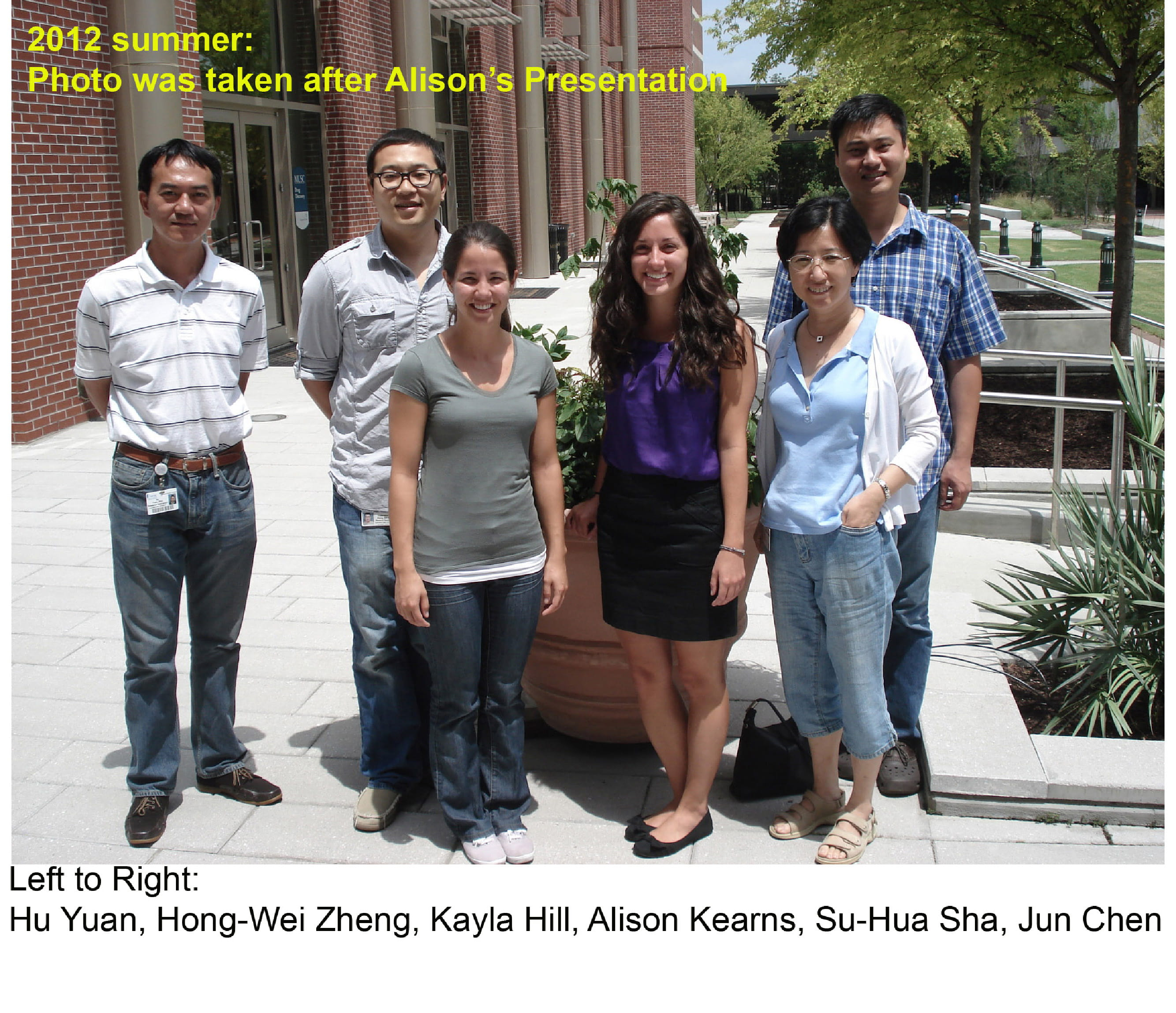 Left to Right: Hu Yuan, Hong-Wei Zheng, Kayla Hill, Alison Kearns, Su-Hua Sha, Jun Chen