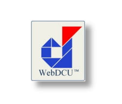 WebDCU logo of a lowercase d built out of blue triangles and quadrilaterals toped with one red triangle