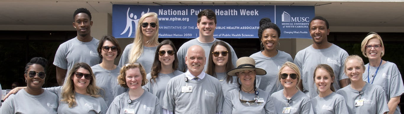 Posed group photo of faculty, staff, and students at National Public Health Week.