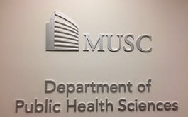 Silver MUSC logo above silver words, Department of Public Health Sciences