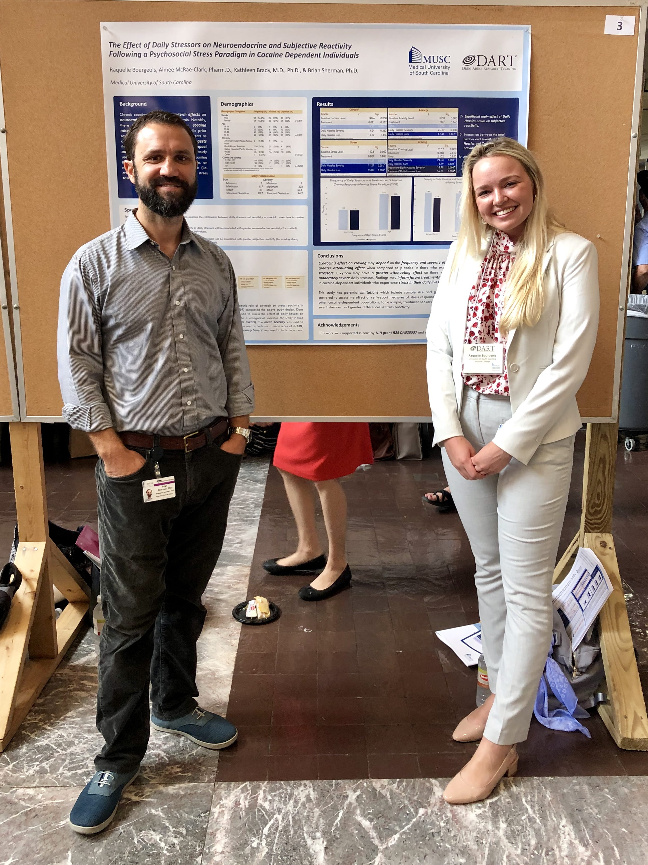 Brian Sherman and mentee, Raquelle Bourgeois, at Summer Research Day