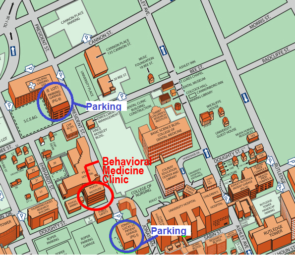 Map of parking options at the Behavioral Medicine Clinic.