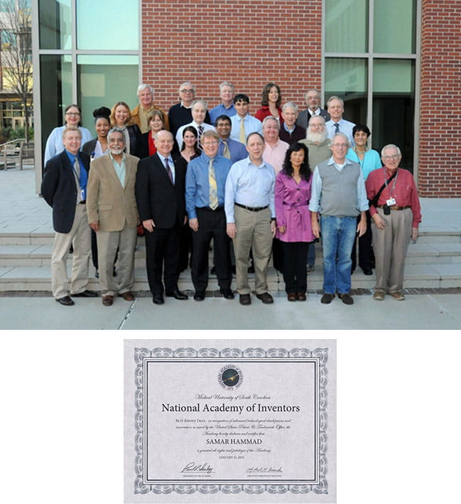 Dr. Hammad posing with faculty members of the MUSC Inaugural Chapter of the National Academy of Inventors on January 21, 2015.