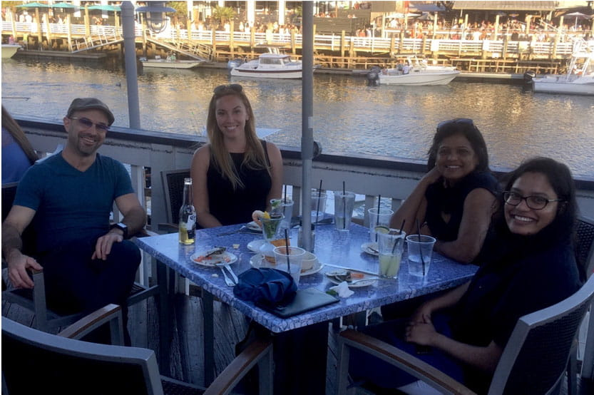 Kourtidis Lab at Shem Creek relaxing