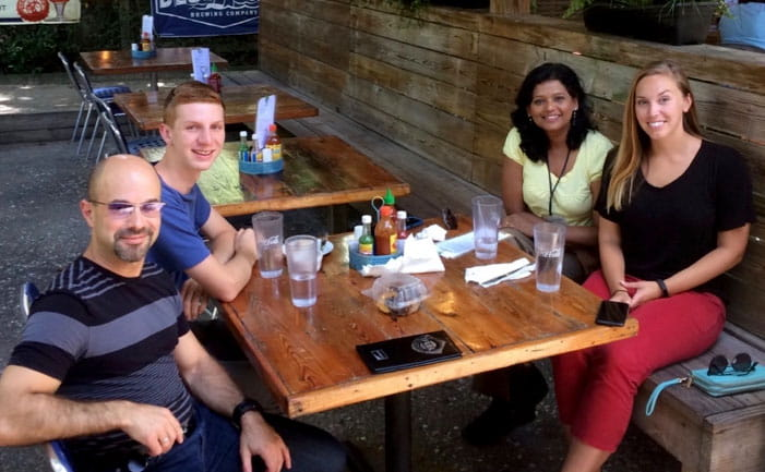 Kourtidis Lab relaxing at lunch
