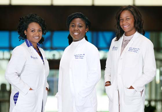 Quiana Kern, M.D., Kiandra Scott, M.D. and Avianne Bunnell, M.D. are pursuing surgical specialties at MUSC.