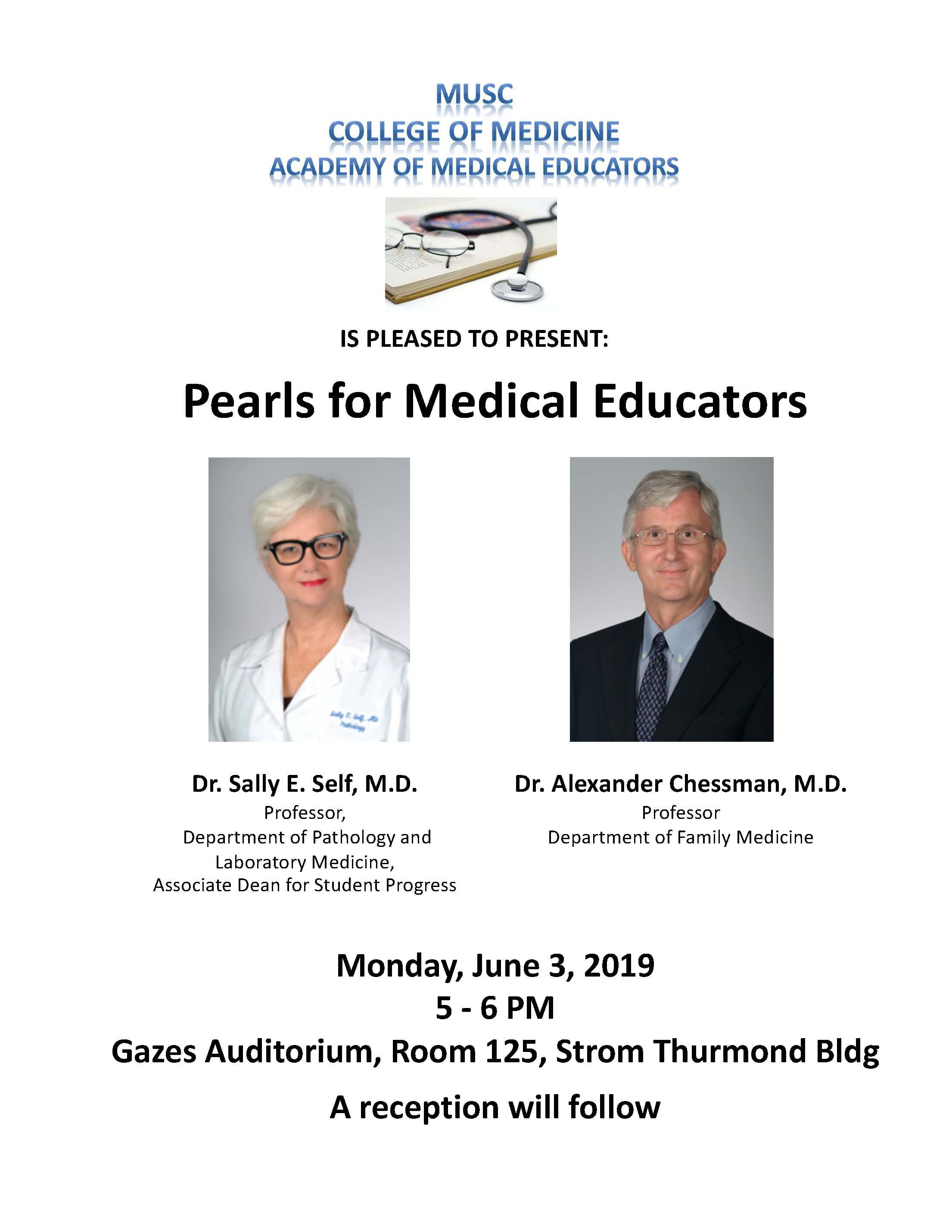 AME Pearls Lecture Flyer with photo's of Dr. Sally E. Self and Dr. Alexander Chessman