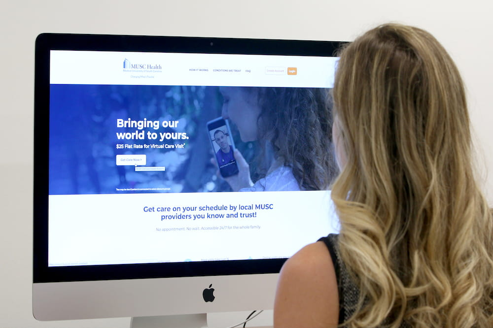 Photograph of someone engaging with MUSC Health Virtual Care